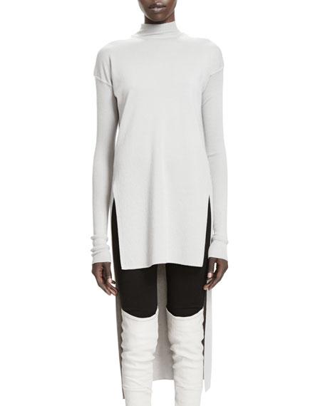 Calla Long-Sleeve High-Low Sweater, Pearl