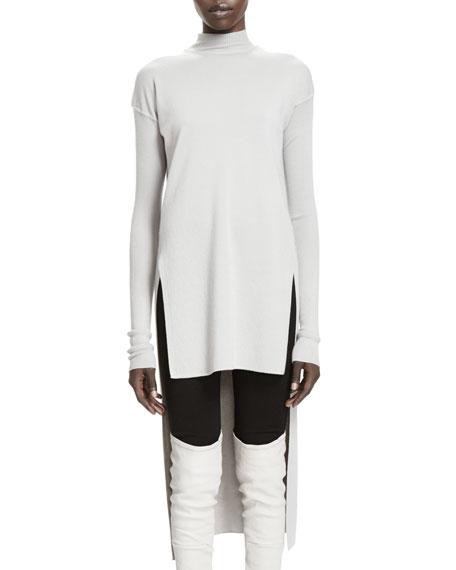 Calla Long-Sleeve High-Low Sweater, Pearl