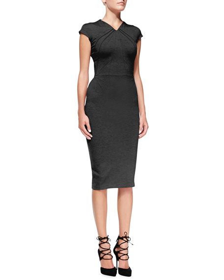 Cap-Sleeve Seamed Jersey Sheath Dress