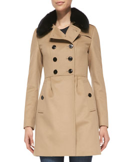 Burberry London Double-Breasted Trench Coat with Fur Collar