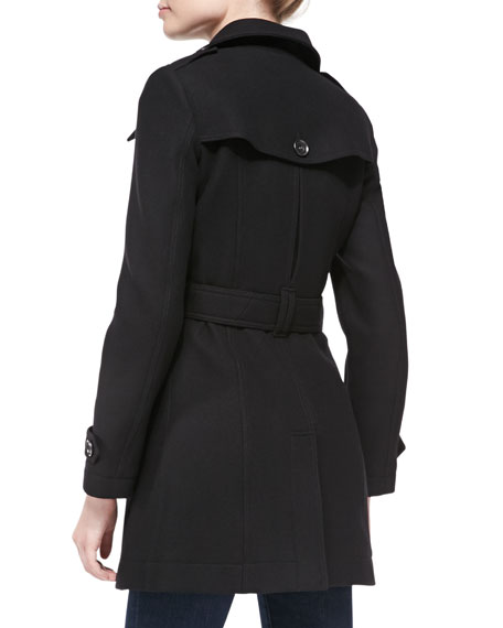 Daylesmoore Wool-Blend Zip-Pocket Trench Coat, Black