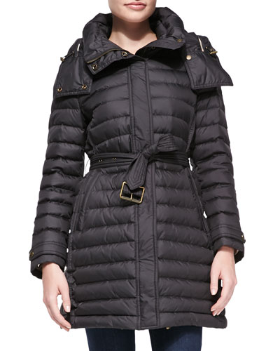 Burberry Brit Hooded Puffer Coat, Black