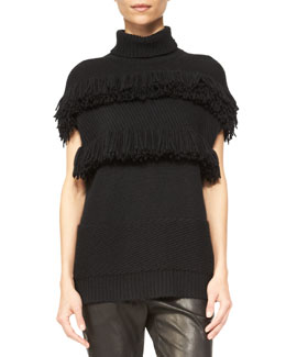 Derek Lam Cashmere Fringe-Detail Turtleneck Sweater