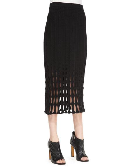 Felt Mesh-Detail Pencil Skirt