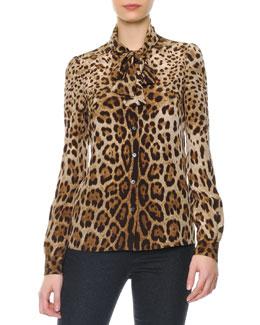 Dolce & Gabbana Leopard Print Tie-Neck Silk Blouse