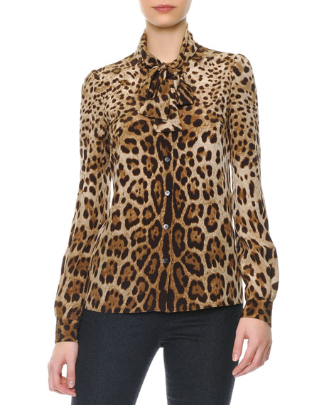 Leopard Print Tie-Neck Silk Blouse