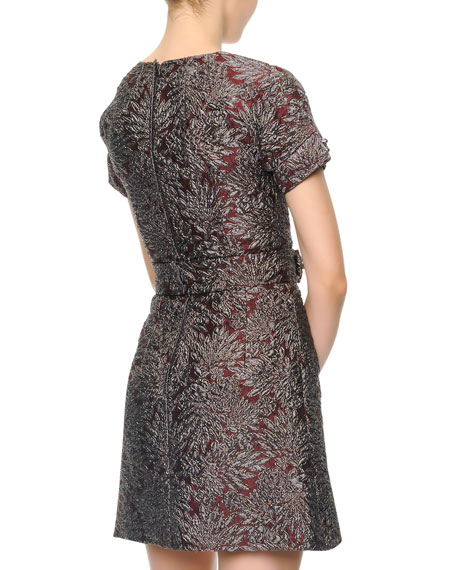 Short-Sleeve Metallic Jacquard Dress with Crystal Buttons
