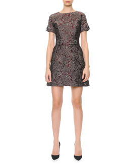 Dolce & Gabbana Short-Sleeve Metallic Jacquard Dress with Crystal Buttons