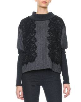 Dolce & Gabbana Black Lace Applique Ribbed Knit Sweater
