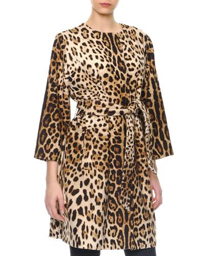 Leopard-Print Cashmere Self-Belt Coat