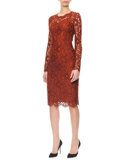Dolce & Gabbana Long-Sleeve Jewel-Neck Lace Dress