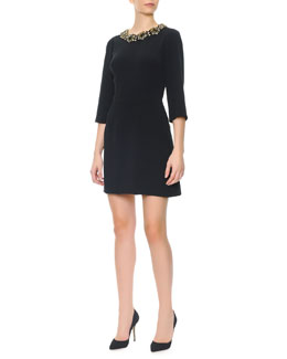 Dolce & Gabbana 3/4-Sleeve Jeweled-Neck Dress