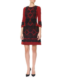 Dolce & Gabbana Long-Sleeve Black Lace Appliqué Dress