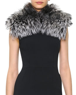 Dolce & Gabbana Silver Fox Collar, Black/White