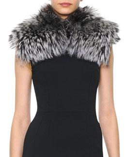 Dolce & Gabbana Silver Fox Collar, Black/White
