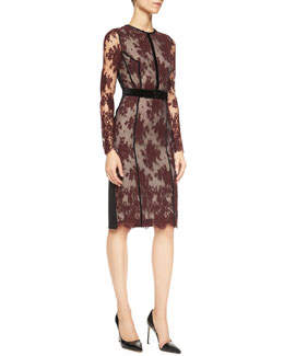 Erdem Cherise Long-Sleeve Lace Combo Sheath Dress