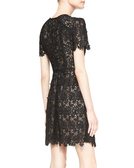Aubrey Short-Sleeve Lace Mini Dress