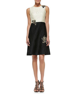 Erdem Sleeveless Flared-Skirt Dress