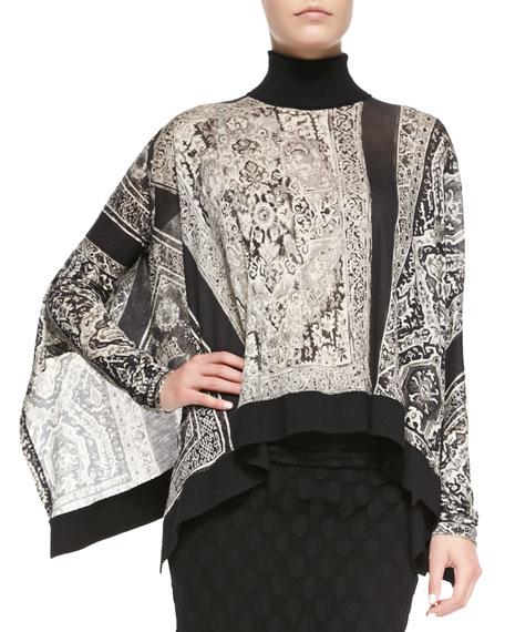 Asymmetric Wool Turtleneck Poncho Top