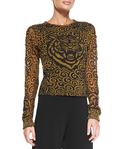 Jean Paul Gaultier Tiger-Print Tulle Top, Gold