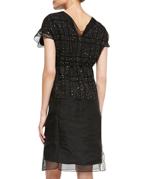 Bead-Top Fitted Organza Dress