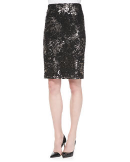 Lela Rose Foiled Lace Straight Skirt