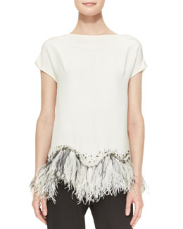 Lela Rose Embellished Feather-Hem Silk Blouse