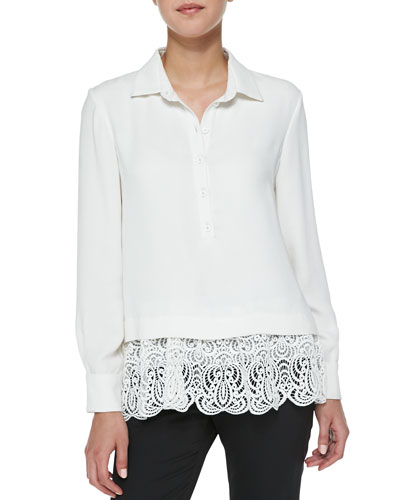 Lela Rose Silk Blouse with Lace Hem, Ivory