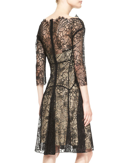 3/4-Sleeve Lace Godet Dress