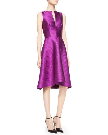 Sleeveless Full-Skirt Jacquard Dress