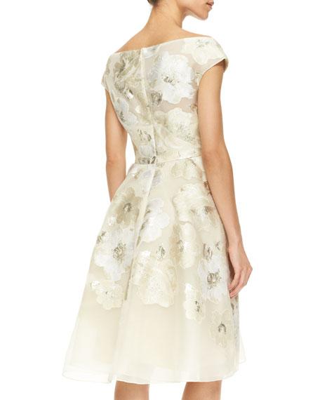 Lela Rose Off-Shoulder V-Neck Metallic Floral Dress, Ivory