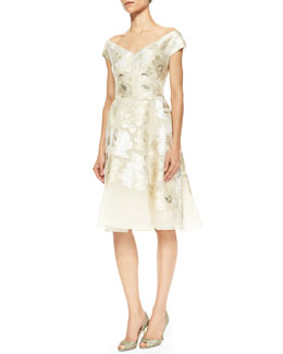 Lela Rose Off-Shoulder V-Neck Metallic Floral Dress, Ivory