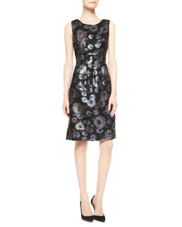 Lela Rose Sleeveless Metallic Tweed Dress