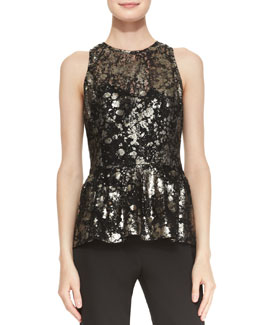 Lela Rose Metallic-Lace Peplum Top