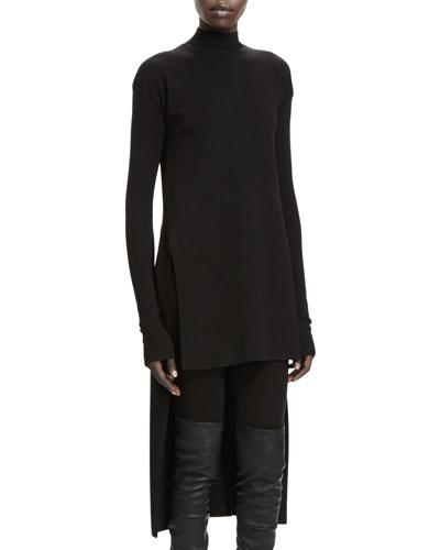 Rick Owens Calla Long-Sleeve High-Low Sweater, Black