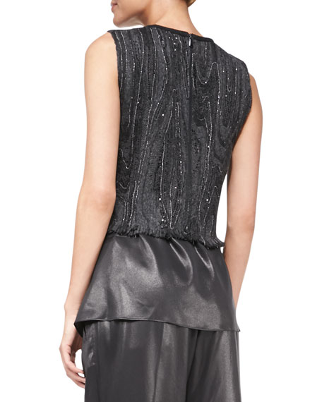 Sleeveless Marbled-Embroidered Top
