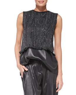 Brunello Cucinelli Sleeveless Marbled-Embroidered Top