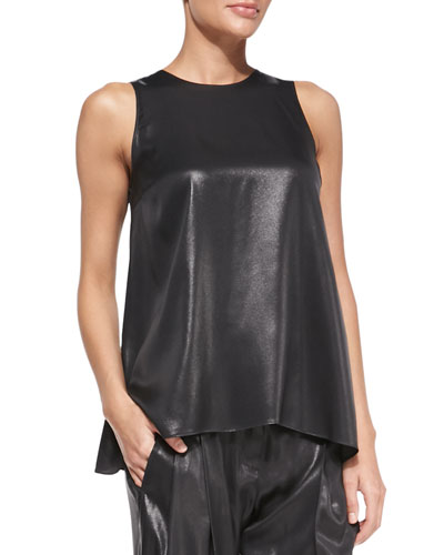 Brunello Cucinelli Sleeveless Lamé Trapeze Top