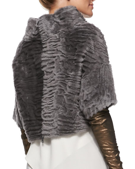 Marbled Shearling Fur Back-Zip Crop Jacket