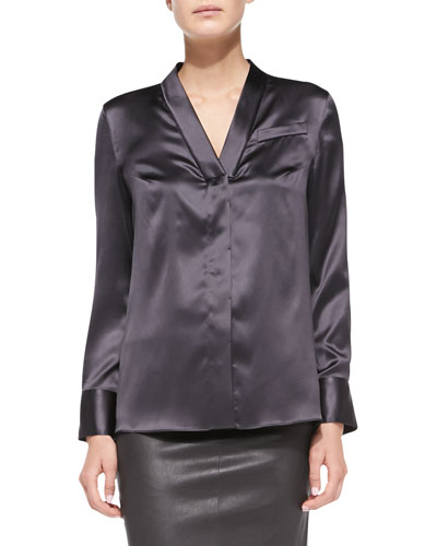Brunello Cucinelli Long-Sleeve Satin V-Neck Blouse