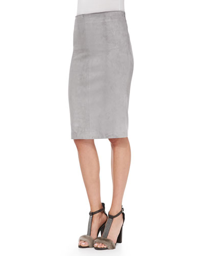 Brunello Cucinelli Suede Pencil Skirt