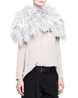Brunello Cucinelli Ostrich Feather Knit Capelet