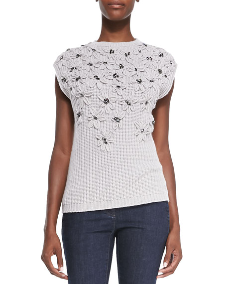 Cashmere Crystal Embroidered Sweater