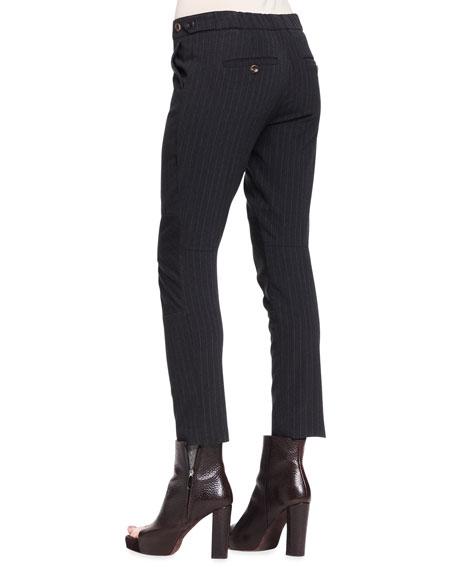 Paneled Pinstripe Wool Pants