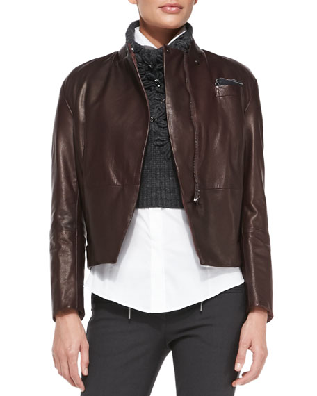 Stand-Collar Leather Zip Jacket