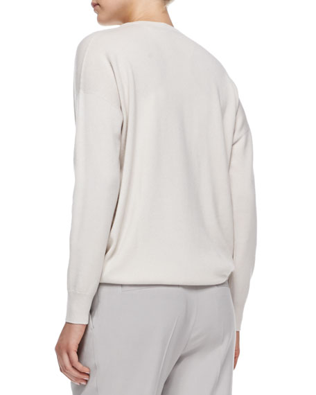 V-Neck Cashmere Sweater with Petal Tank