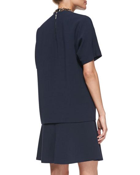 Short-Sleeve Layered Crepe Dress
