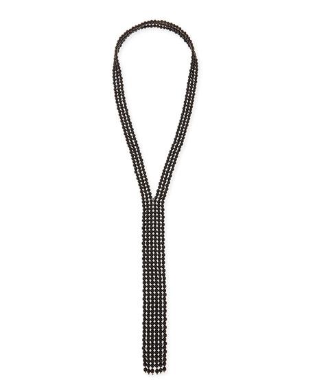 Black Agate Faux-Tie Necklace