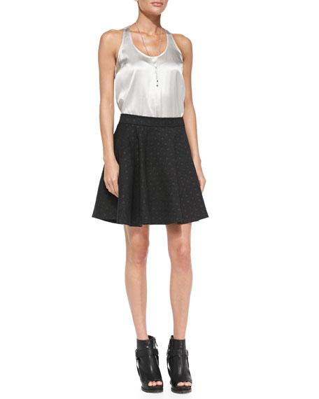 Polka-Dot Wool Swing Skirt