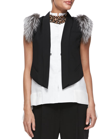 Detachable-Fur-Shoulder Vest